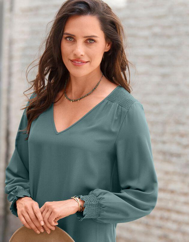 Robe trapèze unie manches longues, vert grisé, hi-res
