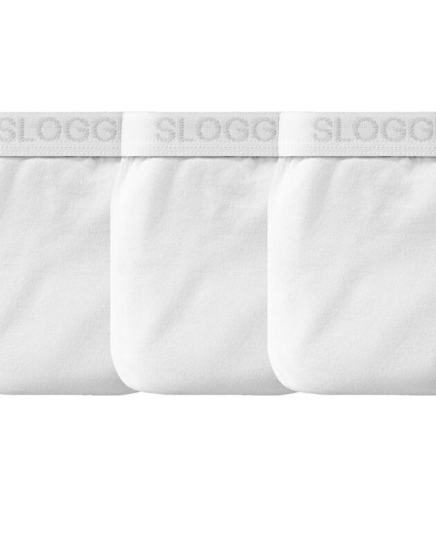 Slip fermé forme midi  - lot de 3, blanc, hi-res
