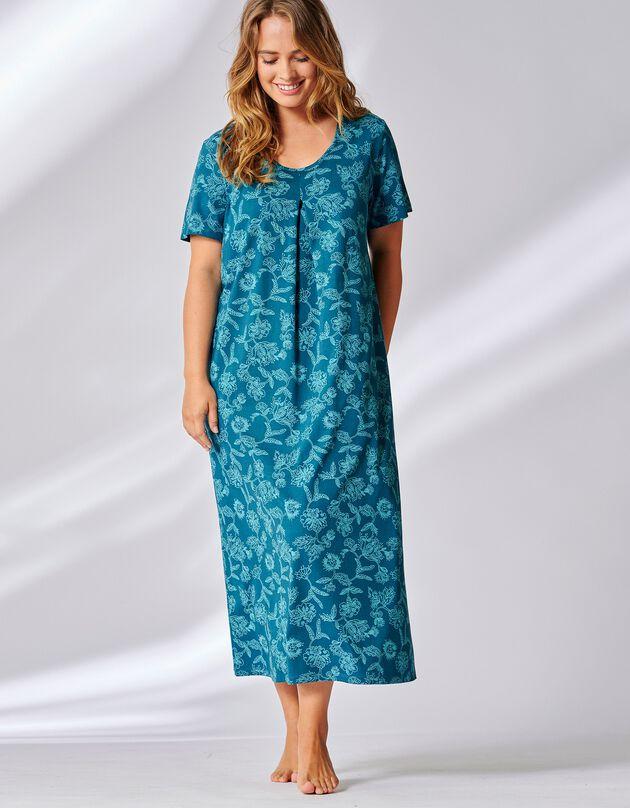 Chemise de nuit longue imprimé floral bicolore manches courtes, bleu canard, hi-res