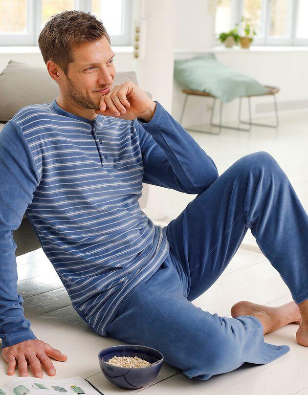 Pyjama rayé velours manches longues, bleu, hi-res