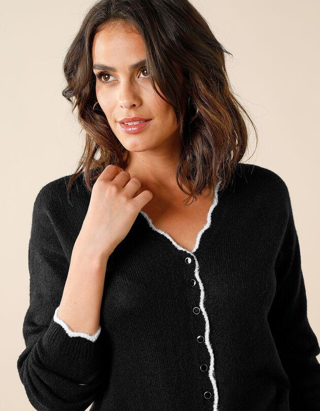 Tweekleurig vest met festonrand, zwart, hi-res