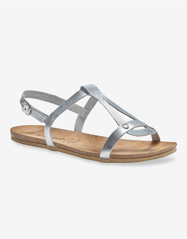 Platte leren sandalen - zilverkleur, zilverkleurig, hi-res