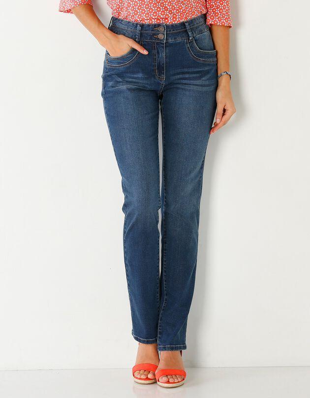 Afgewassen rechte jeans, stone, hi-res