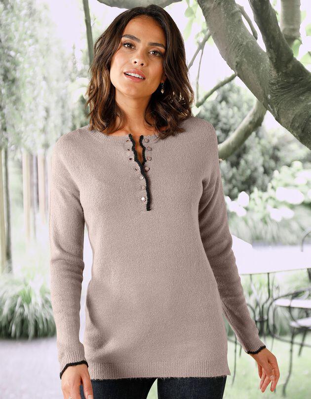 Tweekleurige Tunesische trui met festonrand, taupe, hi-res
