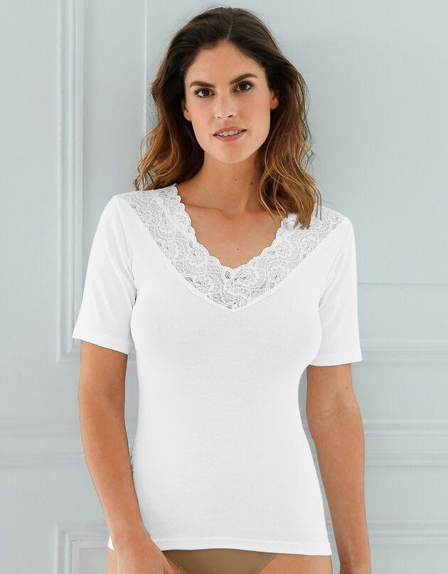 Tee-shirt coton et dentelle - lot de 2, blanc, hi-res