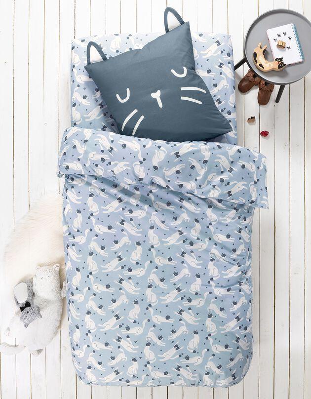 Bedrukt bedlinnen Miaou, 1 persoon - biologisch katoen, blauw, hi-res