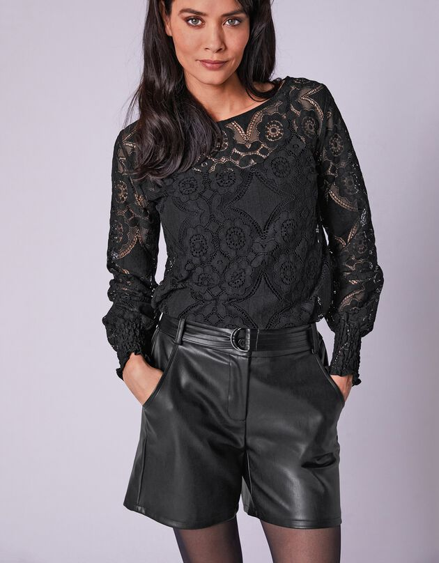 Short aspect cuir(1) ceinture amovible, noir, hi-res