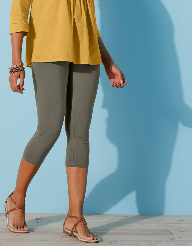 Rekbare kuitbroek met elastische taille, kaki, hi-res