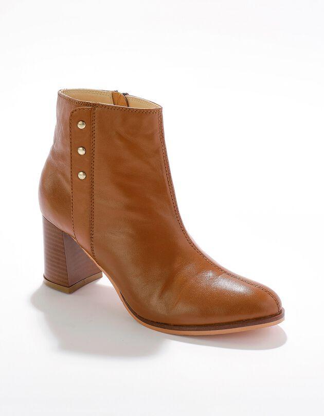 Boots cuir fantaisie cloutée, caramel, hi-res