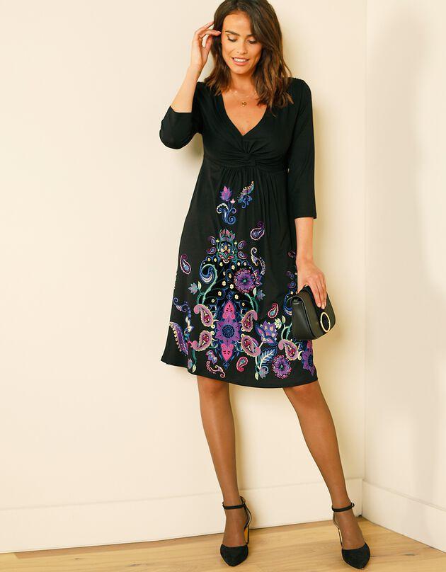 Korte, bedrukte en soepele jurk - 3/4-mouwen, zwart / violine, hi-res
