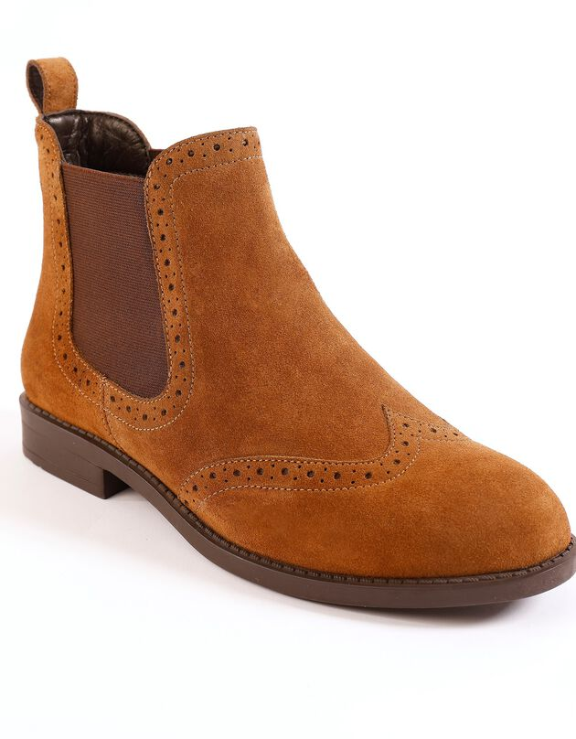 Boots in splitleer met perforaties - bruin, donkerbeige, hi-res
