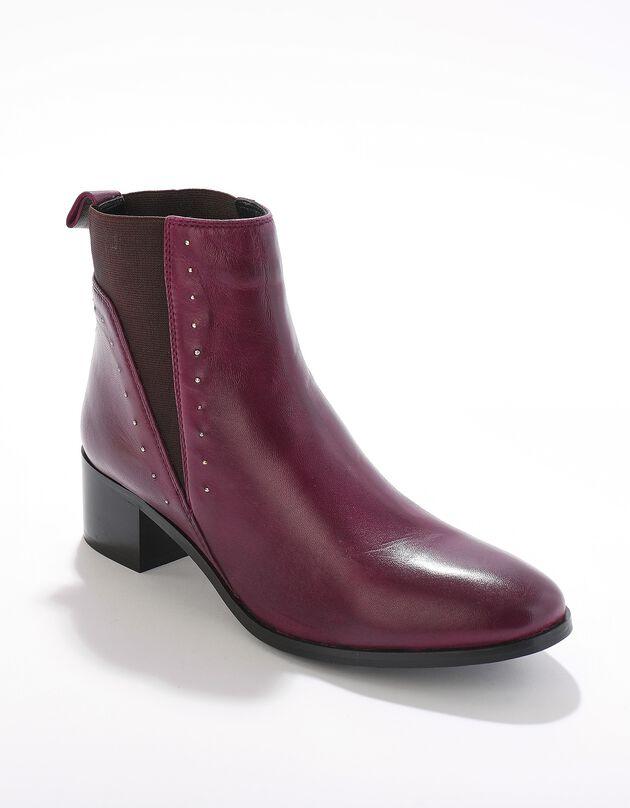 Boots cuir élastiquées cloutées - bordeaux, bordeaux, hi-res