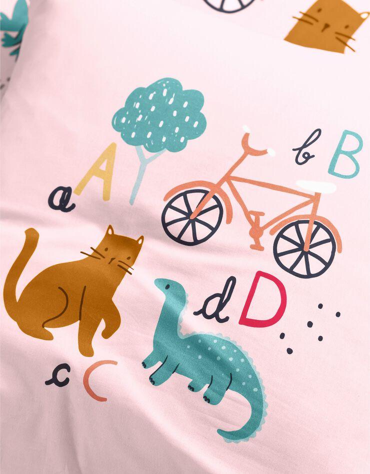 Bedlinnen voor kinderen met 'Alfabet' motieven, in katoen, roze, hi-res image number 3