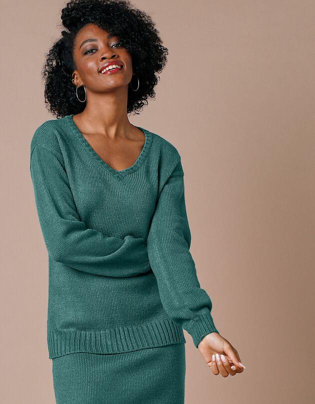 V-hals trui met pofmouwen en kasjmiertouch, smaragd, hi-res