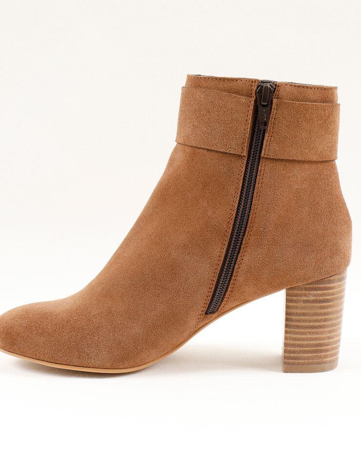 Boots in splitleer met gesp opzij, karamel, hi-res image number 1