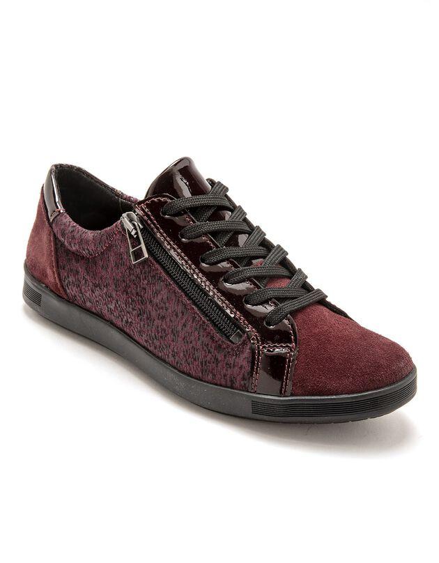 Sneakers met rits en veters, comfortbreedte, in leer, voor dames - rood bedrukt, bordeaux, hi-res