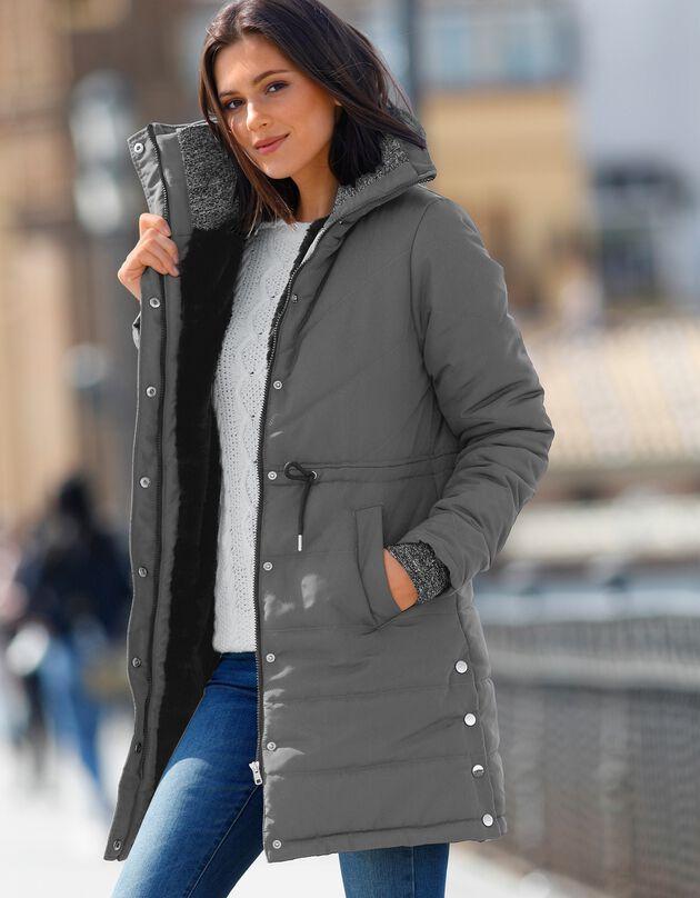 Lange, waterafstotende en gematelasseerde jas, grijs, hi-res