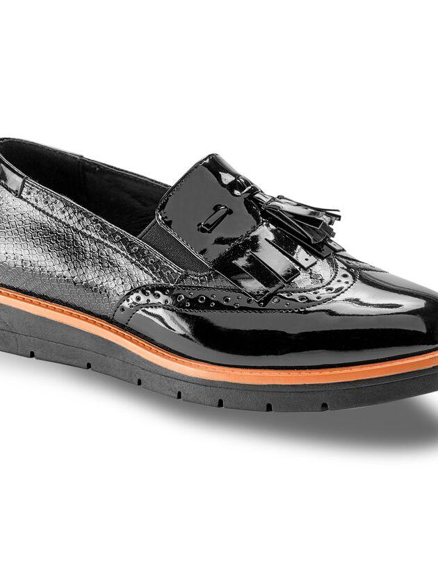 Slippers compensées à franges et pompons, noir, hi-res