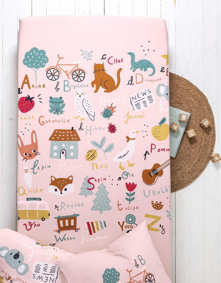 Bedlinnen voor kinderen met 'Alfabet' motieven, in katoen, roze, hi-res image number 4