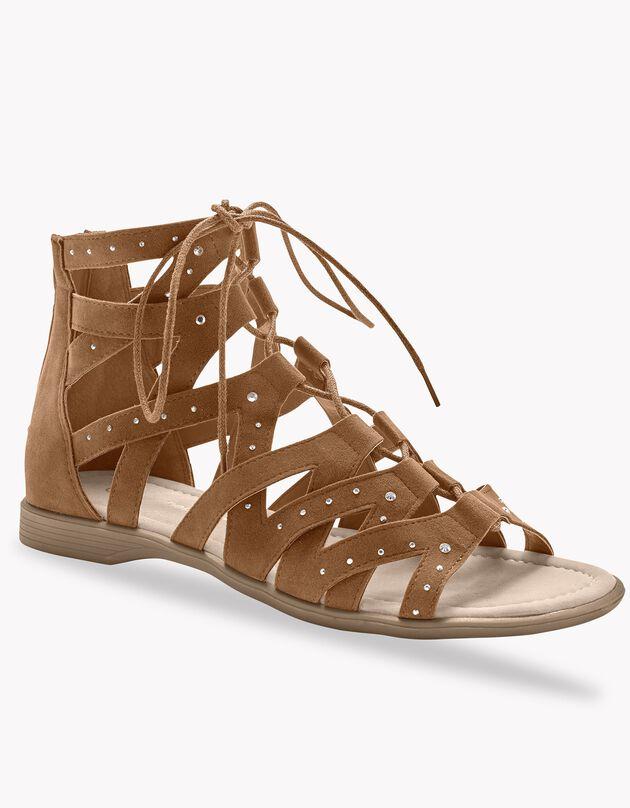 Romeinse sandalen met strasjes - karamel, beige, hi-res
