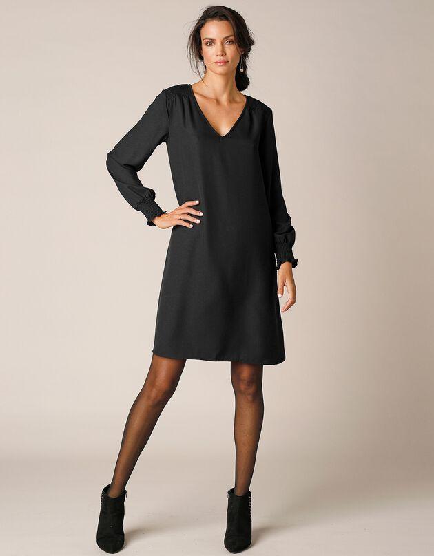 Robe trapèze unie manches longues, noir, hi-res