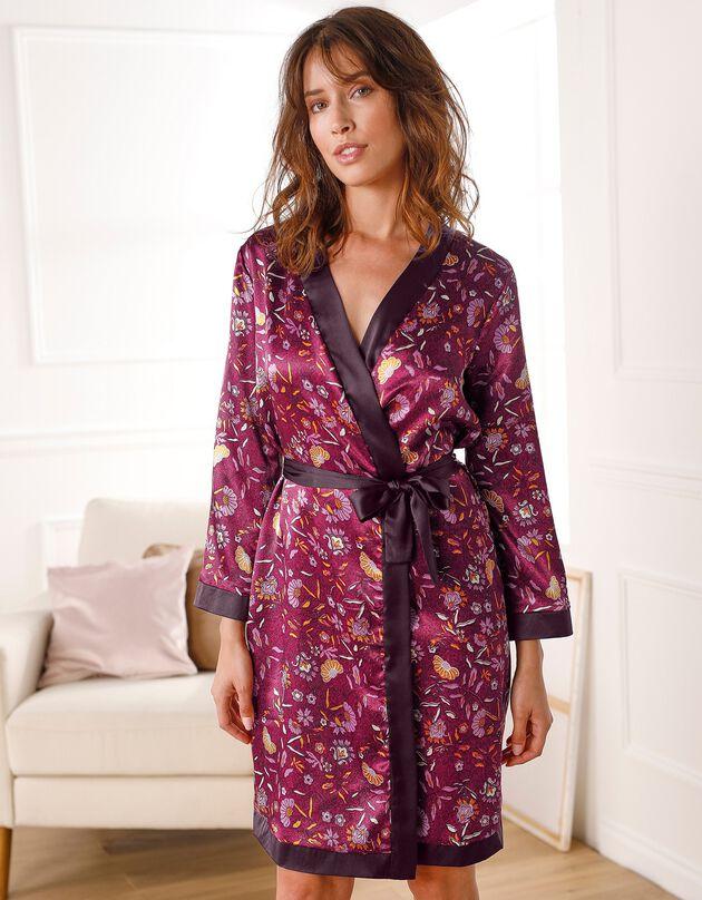 Peignoir satin imprimé floral - forme kimono, noir / bordeaux, hi-res