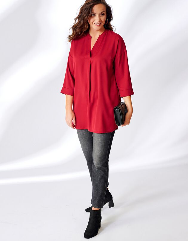 Tuniek met 3/4-mouwen, V-hals met drapé - rood, rood, hi-res