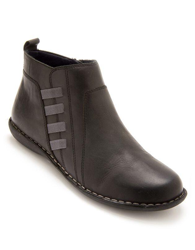Boots met rits en comfortbreedte, in leer - dames, grijs, hi-res