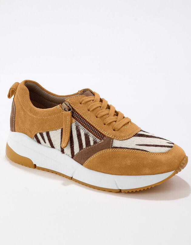 Sneakers in 2 materialen met ritssluiting - dierenhuidprint, karamel, hi-res