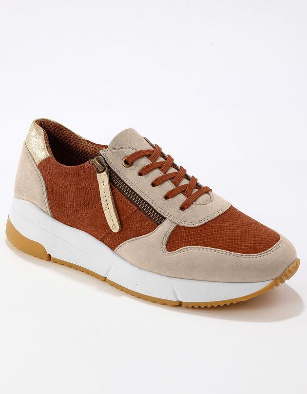 Leren sneakers met rits - steenrood, steenrood, hi-res