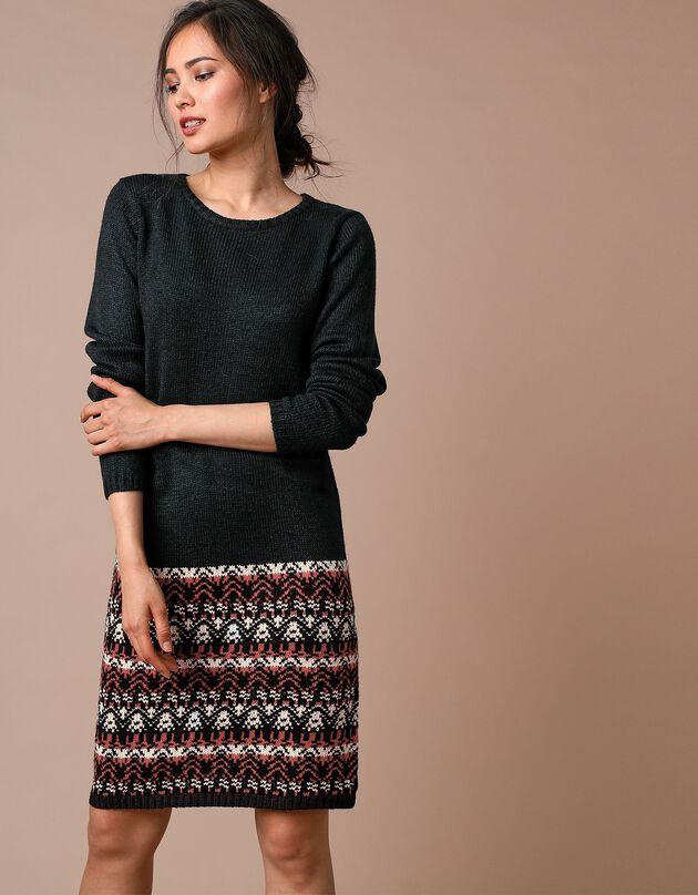Effen trui-jurk met jacquardmotieven onder - lange mouwen, zwart / tomette, hi-res