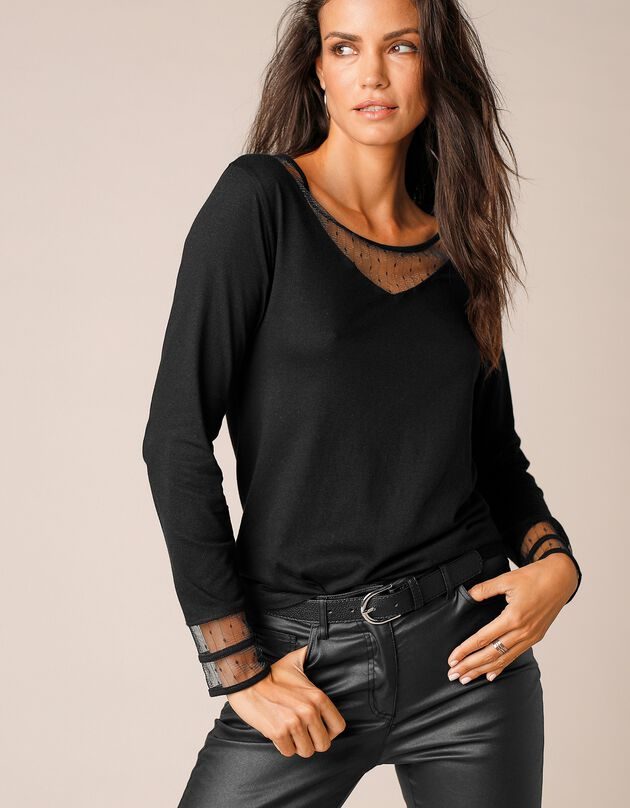 T-shirt in plumetis nettricot met lange mouwen, zwart, hi-res