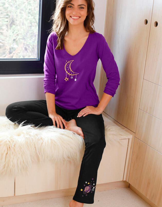 Tee-shirt manches longues imprimé lune jersey coton, violet, hi-res