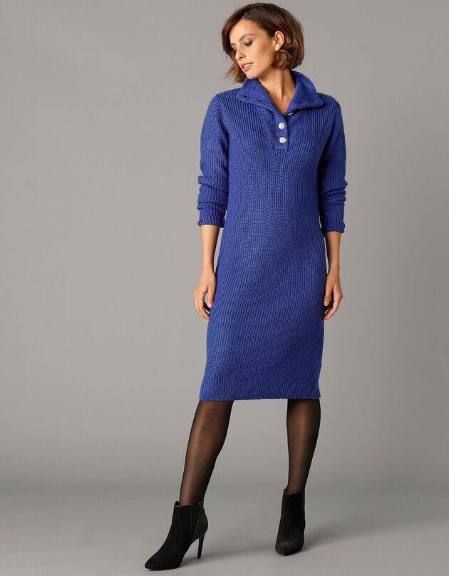 "Robe pull col montant boutons ""bijoux"", bleu nuit, hi-res"