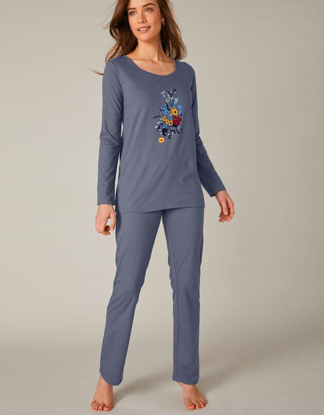 Pyjama met lange mouwen en bloemenmotief, leiblauw, hi-res