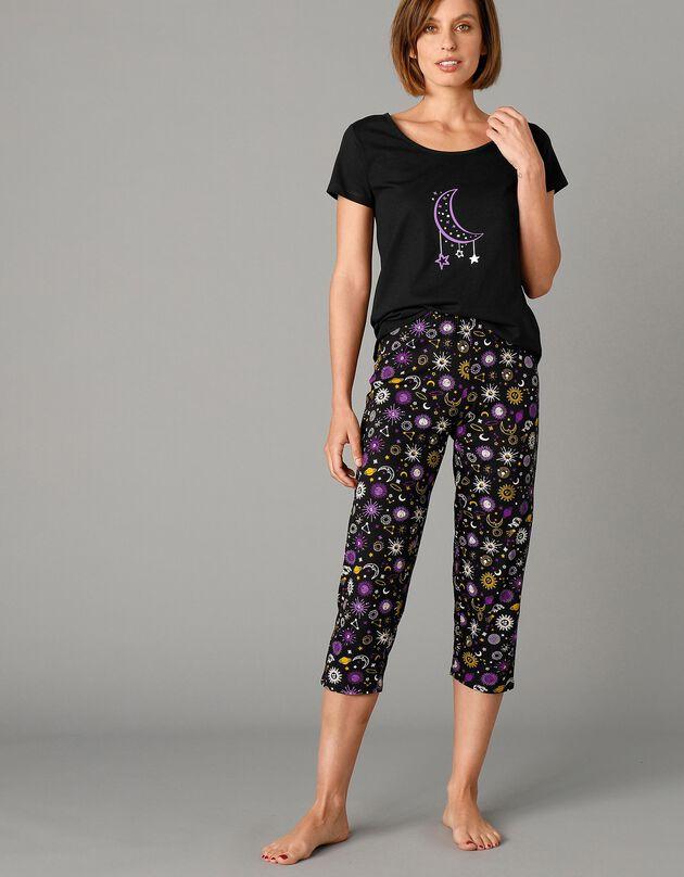 Bedrukte 3/4-pyjamabroek met elastische taille, zwart, hi-res