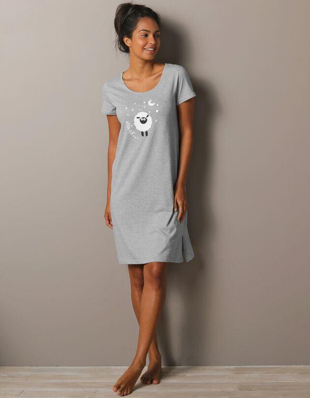 Kort nachthemd met korte mouwen en schaapprint, chiné grijs, hi-res