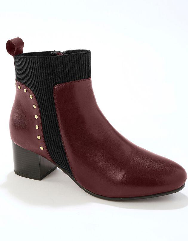 Leren boots met elastieken, sierspijkertjes en hak - bruin, bruin, hi-res