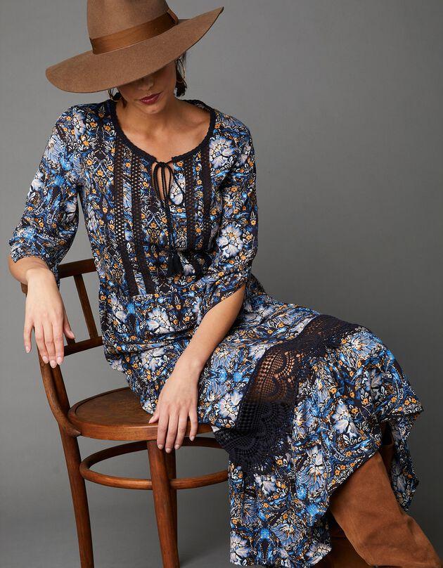 Lange, bedrukte jurk met details in macramé, marine / blauw, hi-res