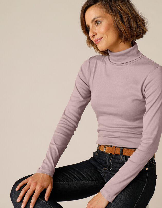 Tee-shirt col montant uni jersey coton bio, taupe, hi-res