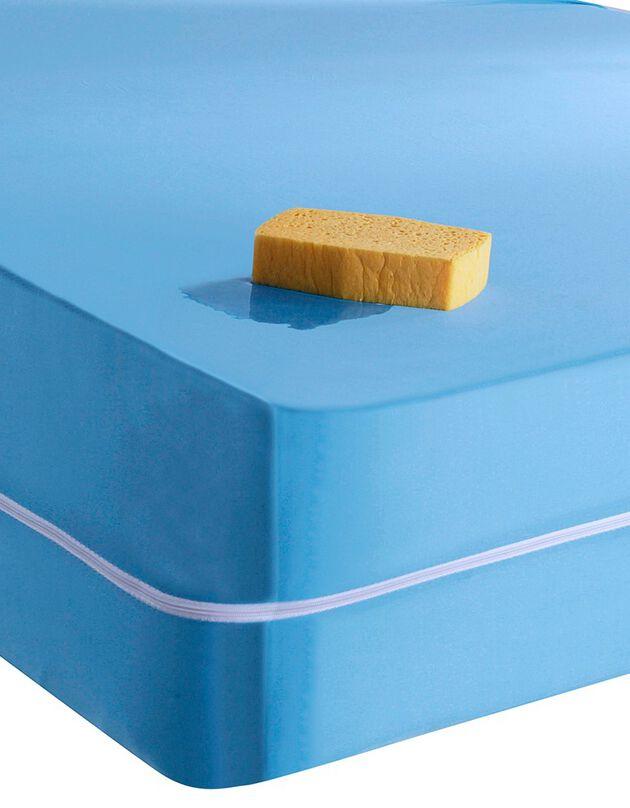 Waterafstotende, rekbare matrashoes, blauw, hi-res