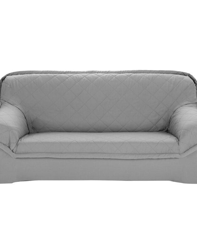 Housse bachette matelassée coton uni fauteuils canapés accoudoirs, gris perle, hi-res
