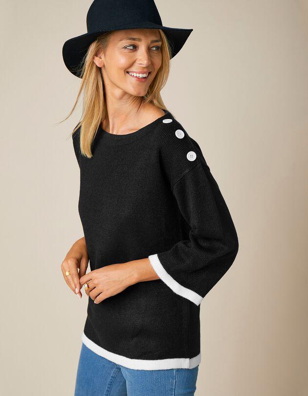 Fifties trui in tweekleurige jacquard, zwart, hi-res
