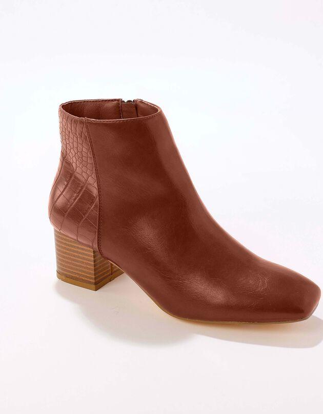 Boots bi-matière bout carré - caramel, caramel, hi-res