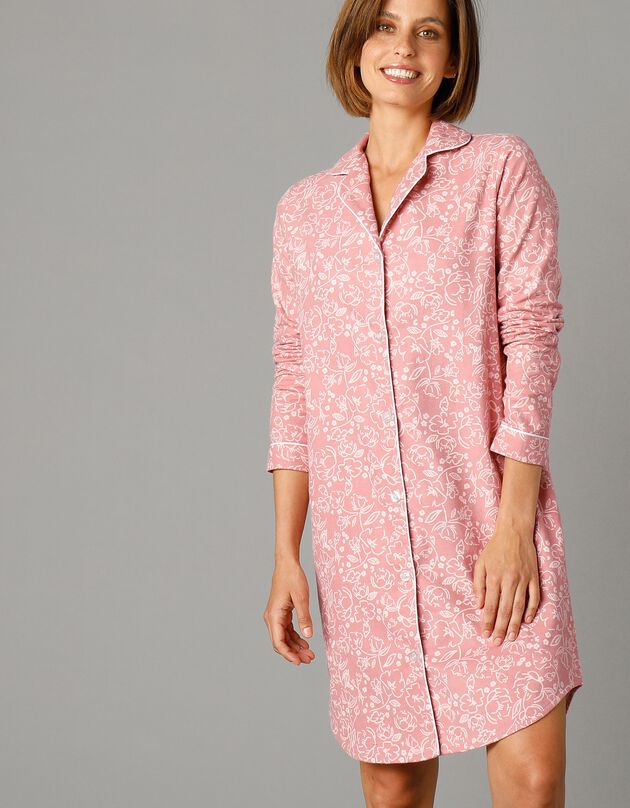 Flanellen nachthemd in liketmodel met bloemenprint, grijsroze, hi-res
