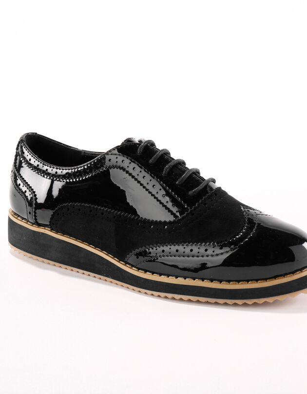 Gelakte derby's met sleehak - zwart, zwart, hi-res