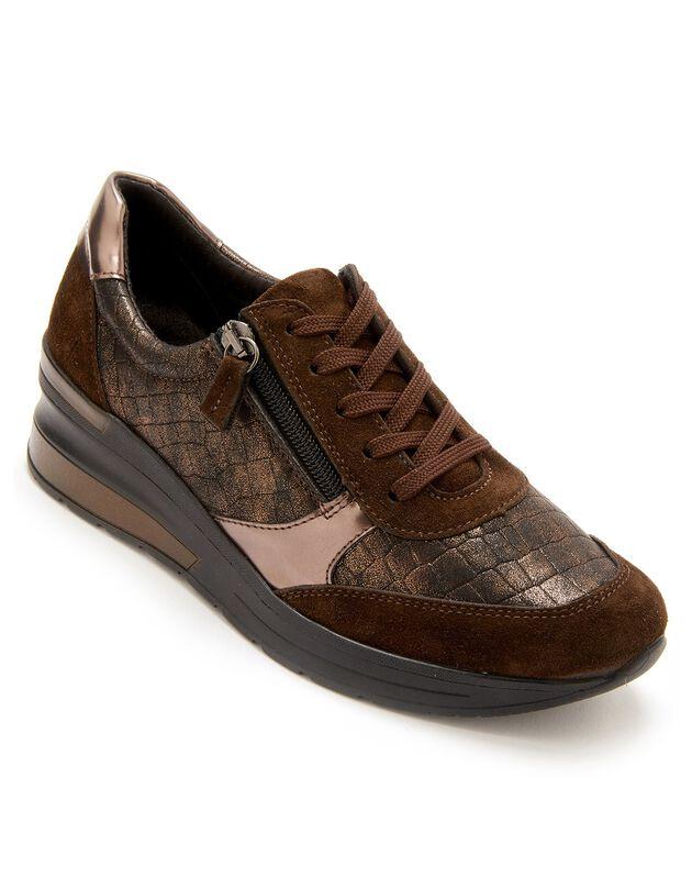 Sneakers met grote breedte, in leer met veters en rits in bronsstijl - dames, bronskleur, hi-res