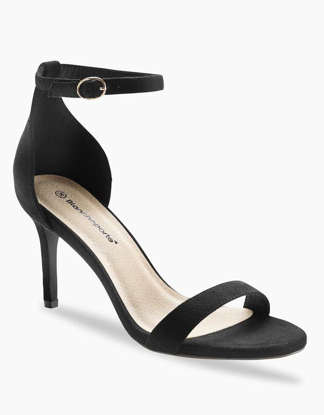 Sandalen met riempje, zwart, hi-res