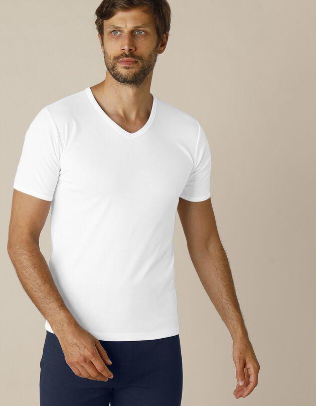 Tee-shirt sous-vêtement homme col V manches courtes polyester - lot de 2, blanc, hi-res