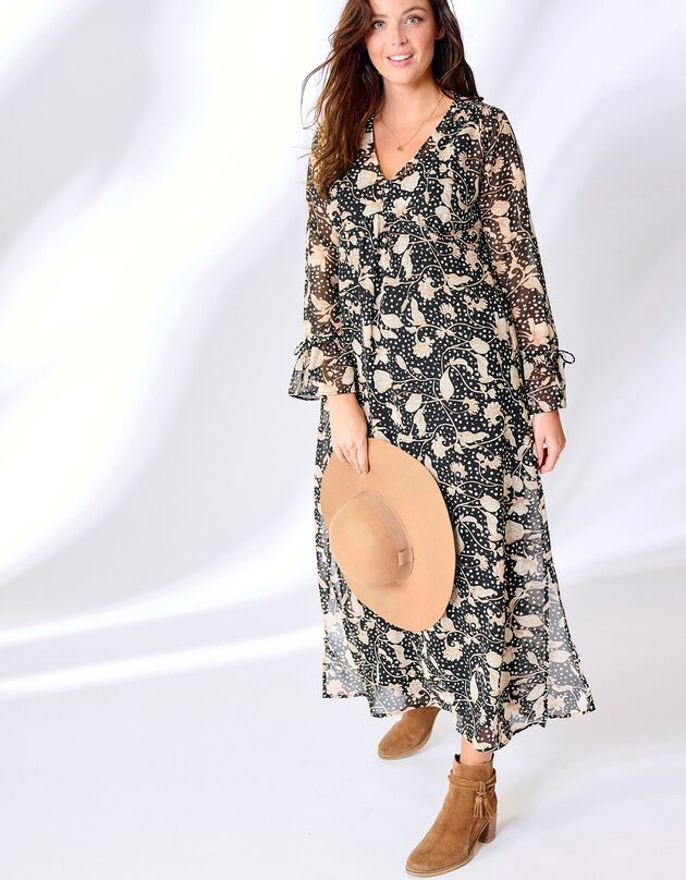 Robe longue imprimée manches volantées, noir / écru, hi-res